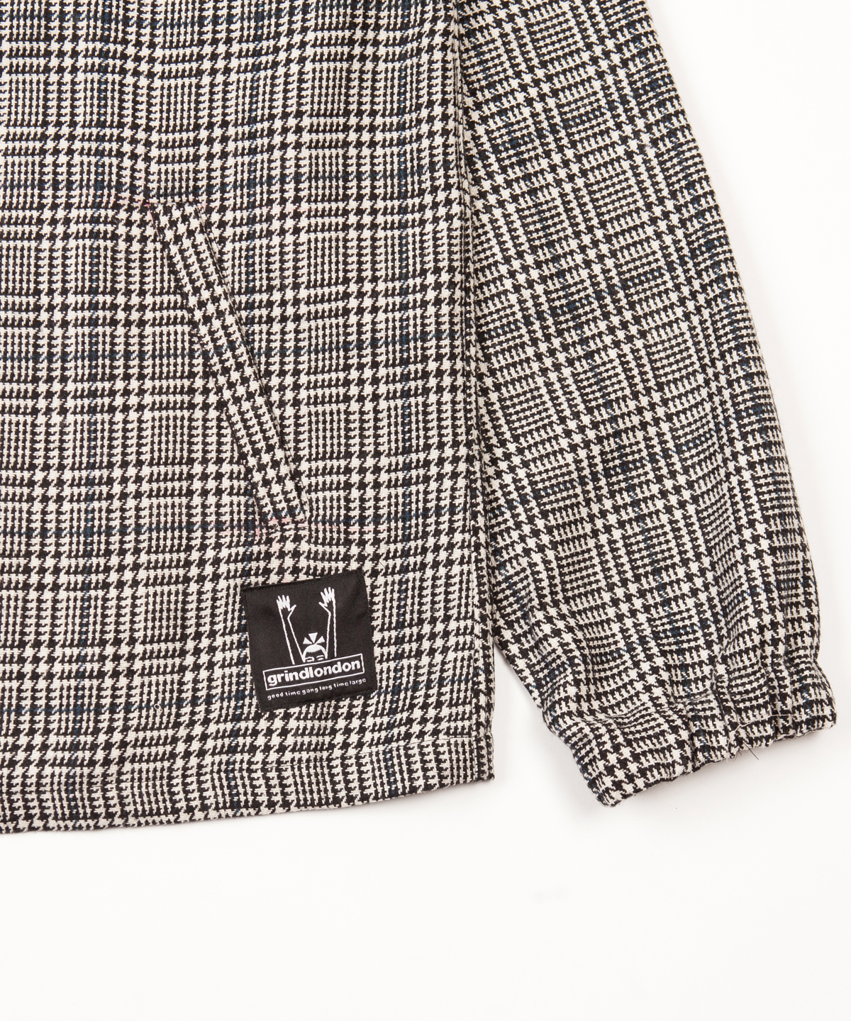 check wool blend pullover detail 2