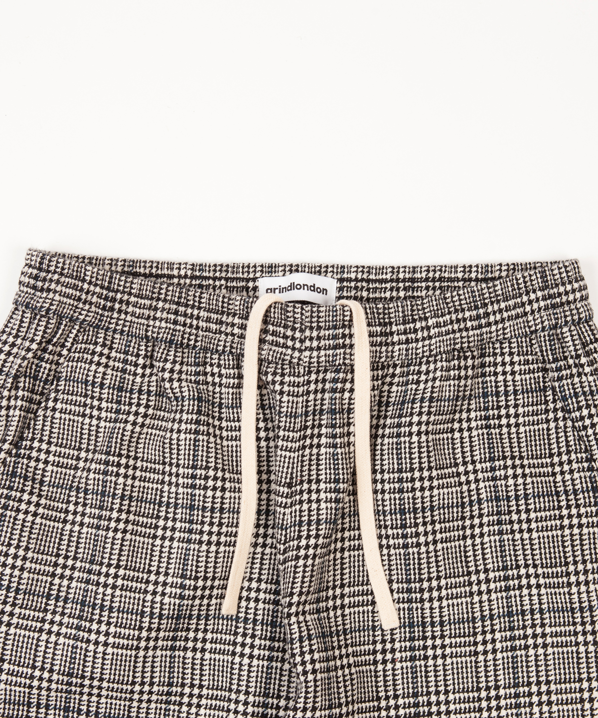 check wool blend relaxed trouser detail