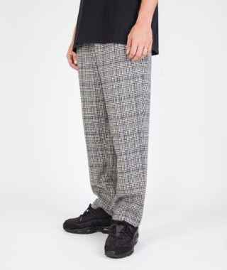 check wool blend relaxed trouser model 2