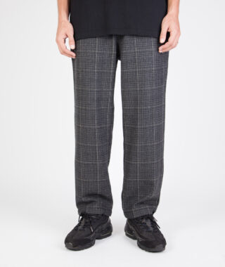check wool blend relaxed trouser model