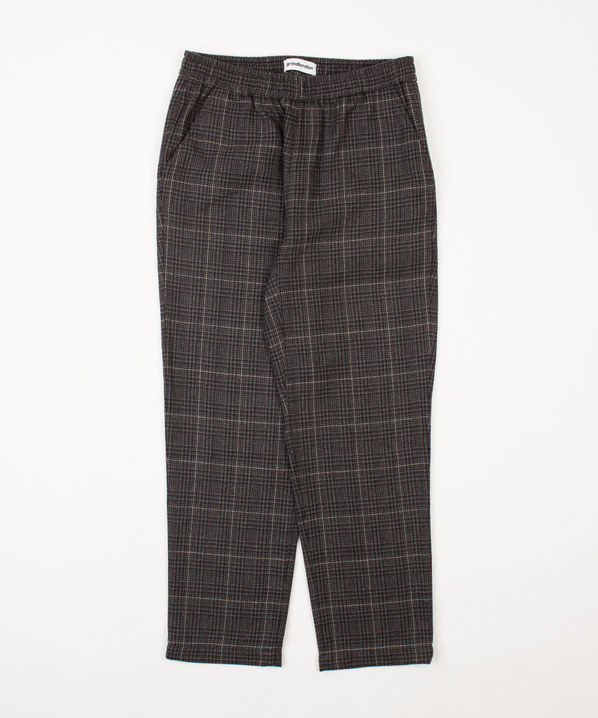 check wool blend relaxed trouser